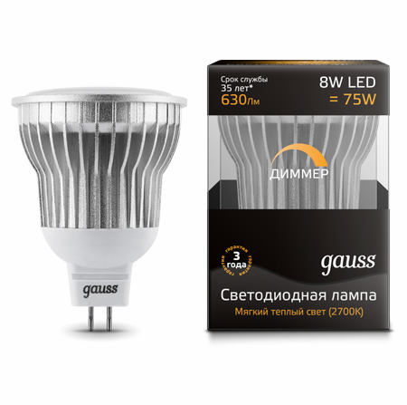 Светодиодные лампы Gauss LED MR16 8W SMD AC220-240V GU5.3 DIM (EB101105108-D)