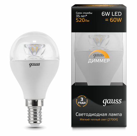 Светодиодные лампы Gauss LED Globe Crystal Clear 6W E14 DIM (105201106-D)