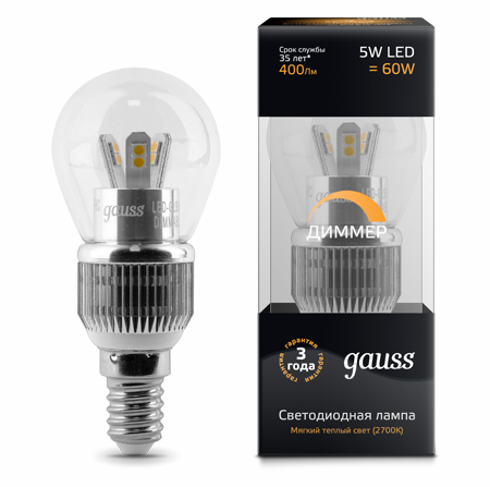 Светодиодные лампы Gauss LED Globe Special Crystal Clear 5W E14 DIM (HA105201105-D)