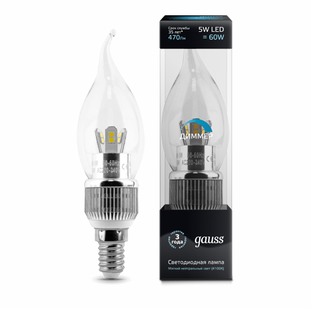 Светодиодные лампы Gauss LED Candle Tailed Special Crystal clear 5W E14 DIM (104201105-D)