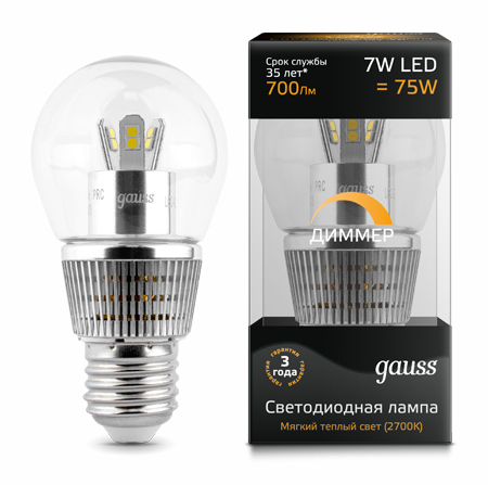 Светодиодные лампы Gauss LED Globe Special Crystal Clear 7W E27 DIM (HA105202107-D)