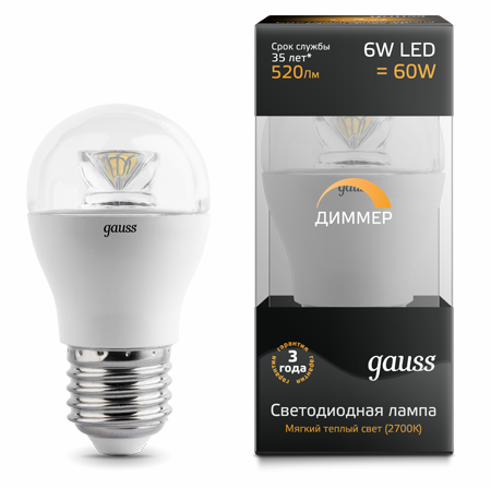 Светодиодные лампы Gauss LED Globe Crystal Clear 6W E27 DIM (105202106-D)